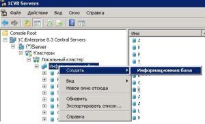 Утилита администрирования серверов 1С Предприятия - Создание новой информационной базы 1С Предприятие